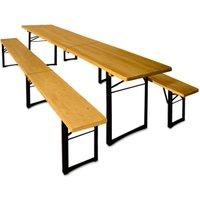 Vendita Casaria Birreria pieghevole 3 pezzi in legno 220x50x75cm in offerta online