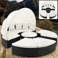 Vendita Casaria Isola prendisole con tetto e tavolino integrato WPC nero-crema poly... in offerta online