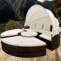 Vendita Casaria Isola prendisole con tetto e tavolino integrato WPC marron-crema po... in offerta online