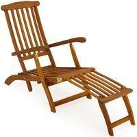 Vendita Casaria Lettino prendisole Queen Mary pieghevole in legno acacia 120x54x95cm in offerta online